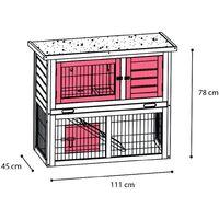 FLAMINGO Rabbit Hutch Loft Urban 111x45x78cm - Multicolour
