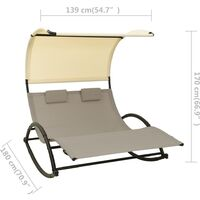 vidaXL Double Sun Lounger with Canopy Textilene Taupe and Cream - Taupe