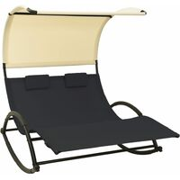 vidaXL Double Sun Lounger with Canopy Textilene Black and Cream
