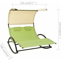 vidaXL Double Sun Lounger with Canopy Textilene Green and Cream - Green