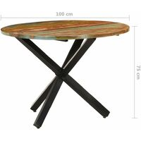 vidaXL Dining Table Round 100x100x75 cm Solid Reclaimed Wood - Brown