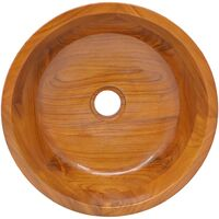 vidaXL Basin Solid Teak Wood Φ40x10 cm - Brown