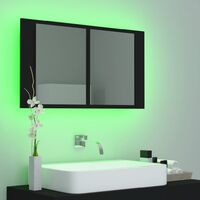 vidaXL LED Bathroom Mirror Cabinet Black 80x12x45 cm - Black