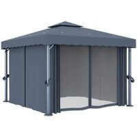 vidaXL Gazebo with Curtain&LED String Lights 3x3 m Anthracite - Anthracite