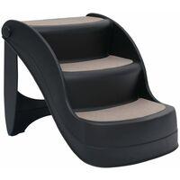 vidaXL Folding 3-Step Dog Stairs Black - Black
