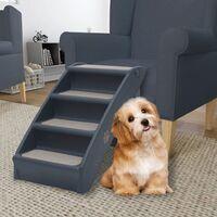 vidaXL Folding 4-Step Dog Stairs Dark Grey - Grey