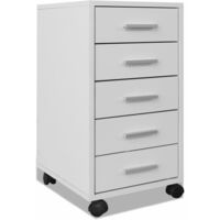 vidaXL Office Drawer Unit with Castors 5 Drawers White - White