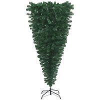 vidaXL Upside-down Artificial Christmas Tree with Stand Green 210 cm