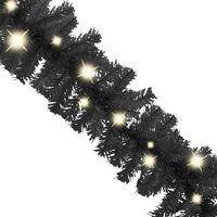 vidaXL Christmas Garland with LED Lights 5 m Black - Black