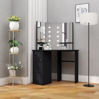 vidaXL Corner Dressing Table with LED Black 111x54x141.5 cm - Black