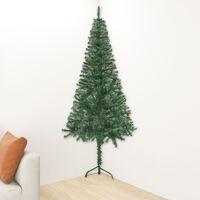vidaXL Corner Artificial Christmas Tree Green 210 cm PVC - Green