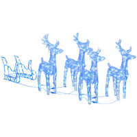 vidaXL Reindeers & Sleigh Christmas Decoration 280x28x55 cm Acrylic - Blue