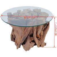 vidaXL Coffee Table Solid Teak Driftwood 60 cm - Brown