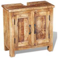 vidaXL Bathroom Vanity Cabinet with Mirror Solid Mango Wood - Brown