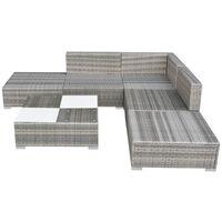 vidaXL 6 Piece Garden Lounge Set with Cushions Poly Rattan Grey - Grey