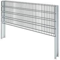 vidaXL 2D Gabion Fence Galvanised Steel 2.008x0.83 m 2 m (Total Length) Grey - Grey
