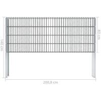 vidaXL 2D Gabion Fence Galvanised Steel 2.008x0.83 m 4 m (Total Length) Grey - Grey