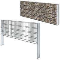 vidaXL 2D Gabion Fence Galvanised Steel 2.008x0.83 m 8 m (Total Length) Grey - Grey