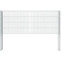 vidaXL 2D Gabion Fence Galvanised Steel 2.008x0.83 m 8 m (Total Length) Silver - Silver