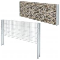 vidaXL 2D Gabion Fence Galvanised Steel 2.008x0.83 m 10 m (Total Length) Silver - Silver