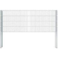 vidaXL 2D Gabion Fence Galvanised Steel 2.008x0.83 m 16 m (Total Length) Silver - Silver
