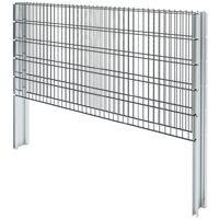 vidaXL 2D Gabion Fence Galvanised Steel 2.008x1.03 m 2 m (Total Length) Grey - Grey