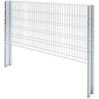 vidaXL 2D Gabion Fence Galvanised Steel 2.008x1.03 m 10 m (Total Length) Silver - Silver