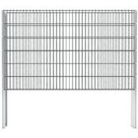 vidaXL 2D Gabion Fence Galvanised Steel 2.008x1.23 m 2 m (Total Length) Grey - Grey