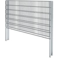 vidaXL 2D Gabion Fence Galvanised Steel 2.008x1.23 m 4 m (Total Length) Grey - Grey