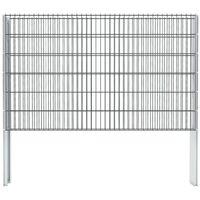 vidaXL 2D Gabion Fence Galvanised Steel 2.008x1.23 m 6 m (Total Length) Grey - Grey