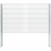 vidaXL 2D Gabion Fence Galvanised Steel 2.008x1.23 m 4 m (Total Length) Silver - Silver