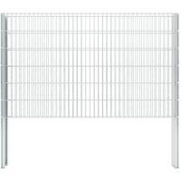 vidaXL 2D Gabion Fence Galvanised Steel 2.008x1.23 m 14 m (Total Length) Silver - Silver