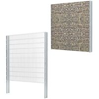 vidaXL 2D Gabion Fence Galvanised Steel 2.008x2.03 m 6 m (Total Length) Silver - Silver