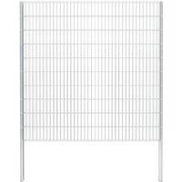 vidaXL 2D Gabion Fence Galvanised Steel 2.008x2.03 m 16 m (Total Length) Silver - Silver