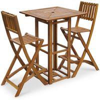 vidaXL 3 Piece Bistro Set Solid Acacia Wood - Brown