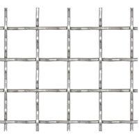 vidaXL Crimped Garden Wire Fence Stainless Steel 50x50 cm 21x21x2.5 mm - Silver