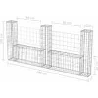 vidaXL Gabion Basket U-Shape Galvanised Steel 240x20x100 cm - Silver