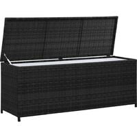 vidaXL Garden Storage Box Black 150x50x60 cm Poly Rattan - Black
