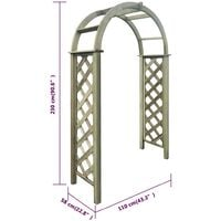 vidaXL Trellis Arch Green Impregnated Pinewood - Brown