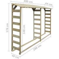vidaXL Double Firewood Storage Shed 300x44x176 cm Impregnated Pinewood - Brown