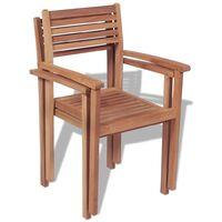vidaXL Stackable Garden Chairs 2 pcs Solid Teak Wood - Brown