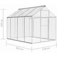 vidaXL Outdoor Aviary Aluminium 178x242x192 cm - Grey