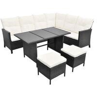 vidaXL 4 Piece Garden Lounge Set with Cushions Poly Rattan Black - Black