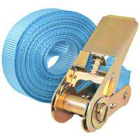 vidaXL Ratchet Tie Down Straps 4 pcs 0.8 Tonnes 6mx25mm Blue - Blue
