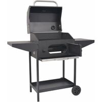 vidaXL BBQ Charcoal Smoker with Bottom Shelf Black - Black