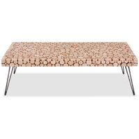 vidaXL Coffee Table Genuine Fir Wood 120.5x60.5x35 cm - Brown
