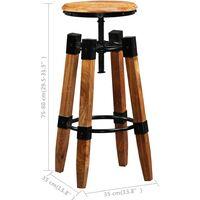 vidaXL Bar Stools 2 pcs Solid Mango Wood - Brown