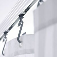 RIDDER Universal Corner Shower Curtain Rail with Hooks Chrome 52500 - Silver