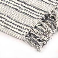 vidaXL Throw Cotton Stripes 125x150 cm Grey and White