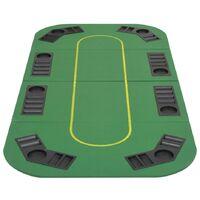 vidaXL 8-Player Folding Poker Tabletop 4 Fold Rectangular Green - Green